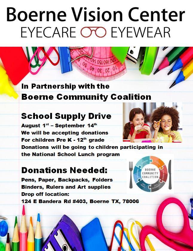 School Supply Drive Boerne Vision Center